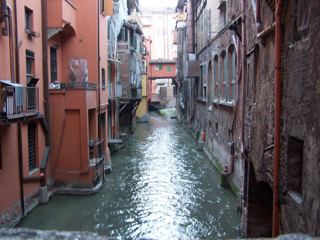 View of Canals from Via Piella in Bologna.