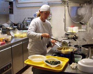 Iris, working her magic in the kitchen at Saporito in Rimini