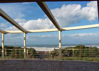View of the sea from the terrace - Tombolo Talasso Resort and Spa - on the west coast of Italy.