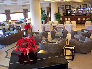 Lobby lounge at Tombolo Talasso Resort on the Tuscan Coast.