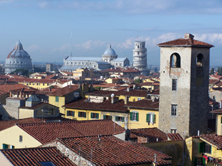 Rooftop view of the city of Pisa and its famous treasures from the Hotel Victoria.