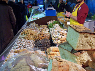 Street markets under tents are an annual February event in Terni, Italy.