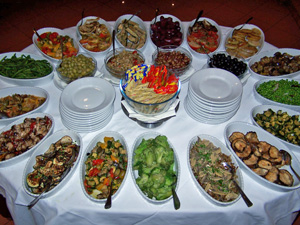 Vegetarian buffet at Hotel Delle Muse, Parioli, Rome, Italy.