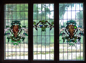 Stained glass windows gave the name to the House of Owls at Villa Torlonia, Rome, Italy.