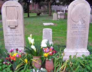 Keats and Shelly are buried in the Protestant Cemetery in Rome, Italy.