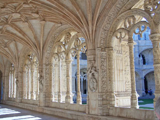 Arches, Manueline carvings, Cloister of Jeronimos Monastery, Libon, Portugal.